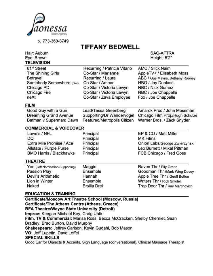 Tiffany Bedwell Paonessa Resume On Camera 20210927